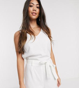 Vero Moda Petite linen romper with tie waist in white