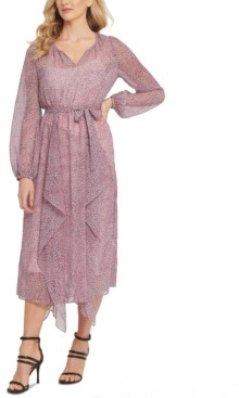 DKNY Printed Ruffled Dress