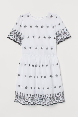 H&M Dress with Eyelet Embroidery - White