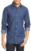 Eleventy Slim Fit Acid Wash Denim Sport Shirt