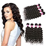 BHF HAIR Deep Wave Brazilian Hair 4 Bundles 8a Grade Virgin Human Hair Weave Natural Black Extensions 20 22 24 26
