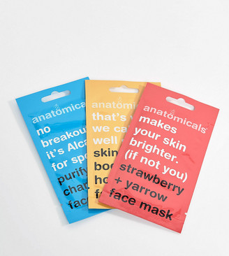 Anatomicals ASOS Exclusive Face Mask Pack - Brightening Boosting and Purifying x 3