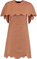 Valentino Scalloped linen mini dress