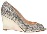 Badgley Mischka Awake Glitter Leather Wedge Pumps