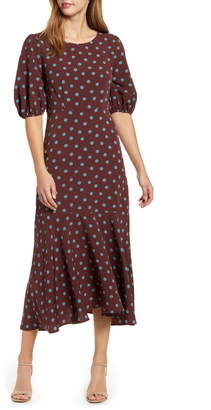 Bobeau Dara Puff Sleeve Ruffle Hem Midi Dress