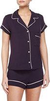 Eberjey Gisele Boxer-Short Jersey Pajama Set, Eggplant/Sorbet