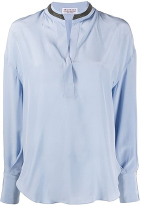 Brunello Cucinelli Stand Up Collar Blouse