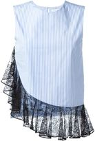 J.W.Anderson lace hem blouse - women - Cotton/Polyamide/Viscose - 10