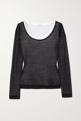 Loewe Layered Silk And Cotton-jersey Top - Black