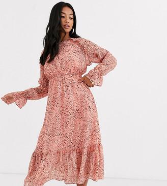 Y.A.S Petite Owa long sleeve ditsy floral midi shirt dress