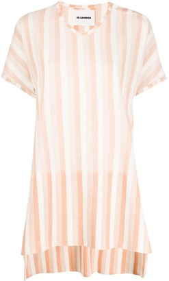 Jil Sander striped high low hem T-shirt