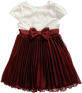 Youngland Ivory & Burgundy Empire-Waist Dress - Toddler & Girls