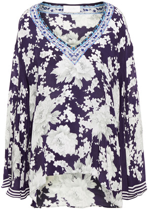 Camilla Crystal-embellished Printed Silk Crepe De Chine Blouse