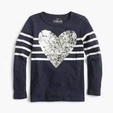 J.Crew Girls' striped sequin heart T-shirt