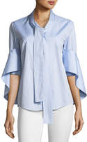 Palmer Harding palmer//harding Button-Front Tie-Neck Cascade-Sleeve Striped Shirt