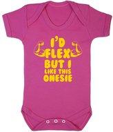FLOSO Baby Girls/Boys I Would Flex But I Like This Onesie Short Sleeve Bodysuit (0-3 Months)