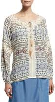 Neiman Marcus Printed Peasant Top W/ Feather Self-Tie