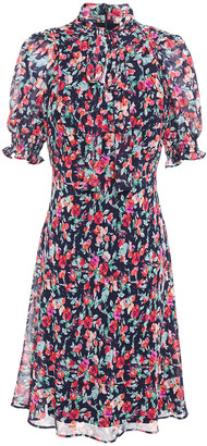 DKNY Pussy-bow Floral-print Georgette Dress