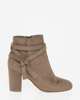 Le Château Suede-Like Round Toe Ankle Boot