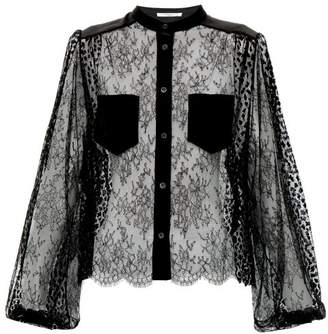 Givenchy Floral Embroidered Lace Blouse - Womens - Black