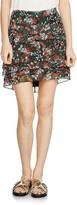 Maje Jerkita Floral-Print Tiered Skirt