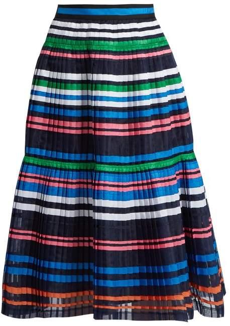 Muveil Ribbon Striped Pleated Organza Skirt - Womens - Navy Multi
