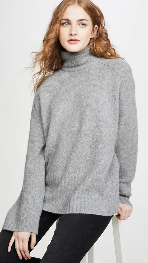 6397 Wide Rib Cashmere Turtleneck Sweater