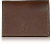 Pineider Power Elegance Double Dark Brown Leather Card Holder