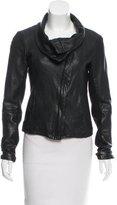 AllSaints Funnel-Neck Leather Jacket