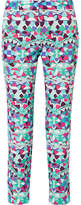 Emilio Pucci Cropped Printed Cotton-blend Faille Slim-leg Pants - Blue