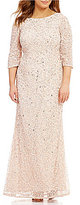 Adrianna Papell Plus 3/4 Sleeve Beaded Gown