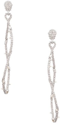 Alexis Bittar Twisted Linear 10K White Goldplated Pave Crystal Post Earrings