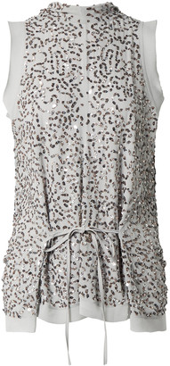 Chloé Tie-front Draped Sequined Silk Crepe De Chine Top