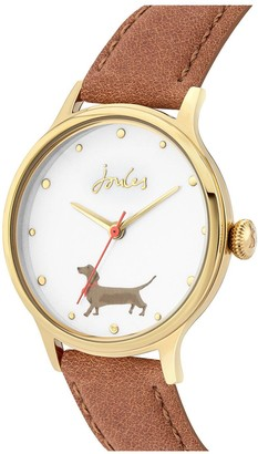 Joules Ladies Watch with Tan Leather Strap and Off-White with Daschund Print Dial