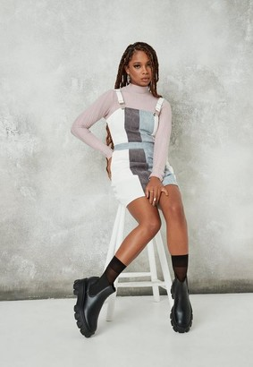 Missguided White Stripe Cord Pinafore Dress