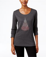 Karen Scott Holiday Tree Graphic Top, Only at Macy's