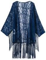 Choies Women's Crochet Lace Fringe Open Front Bating Sleeve Kimono M