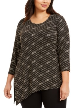 JM Collection Plus Size Asymmetrical Metallic Top, Created for Macy's