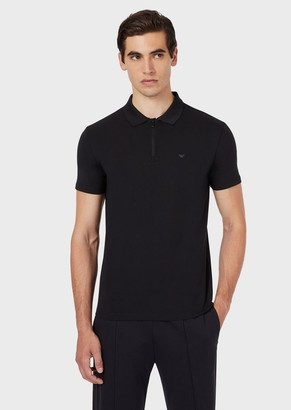 Emporio Armani Travel Essential Zipped Jersey Polo Shirt