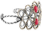 American West Sterling, Brass & Red Coral CuffBracelet