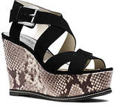 Michael Kors Celia Suede And Embossed-Leather Wedge