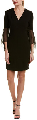 Elie Tahari Silk-Trim Sheath Dress