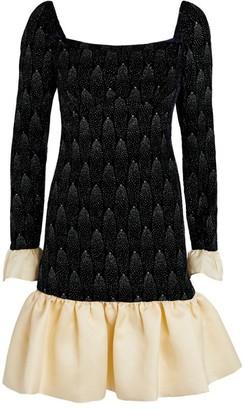 Sandra Mansour Velvet Ruffled Mini Dress