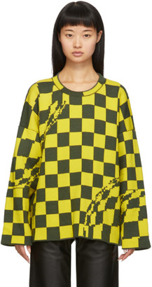 Off-White Off White Yellow and Grey Checked Sweater