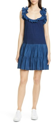 La Vie Rebecca Taylor Ruffle Detail Sleeveless Mix Media Cotton Dress