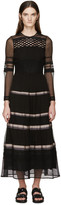 Burberry Black Silk Ribbon Striped Dress