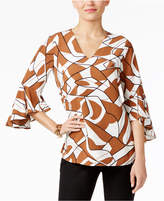 Alfani Printed Ruffle-Sleeve Blouse, Only at Macy's