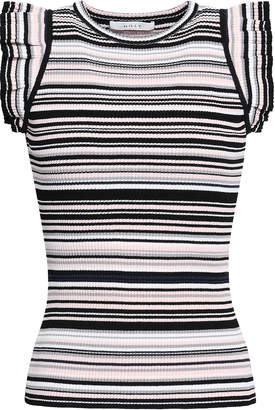 Milly Ruffled Striped Ribbed-knit Top