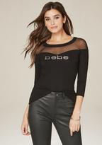 Bebe Logo Geo Mesh Yoke Top