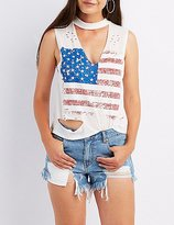 Charlotte Russe American Flag Choker Neck Tank Top